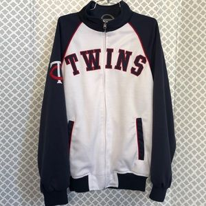 Minnesota TWINS white red blue men's zip up jacket